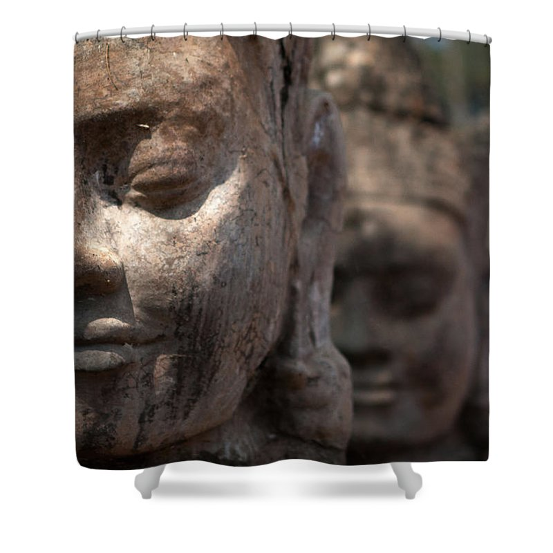Art Shower Curtain featuring the photograph Angkor Warriors by Romulo Rejon