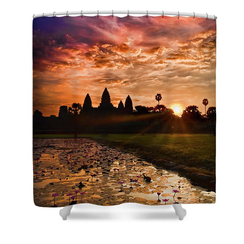 Scenics Shower Curtain featuring the photograph Angkor Wat At Sunrise by Andrew Jk Tan