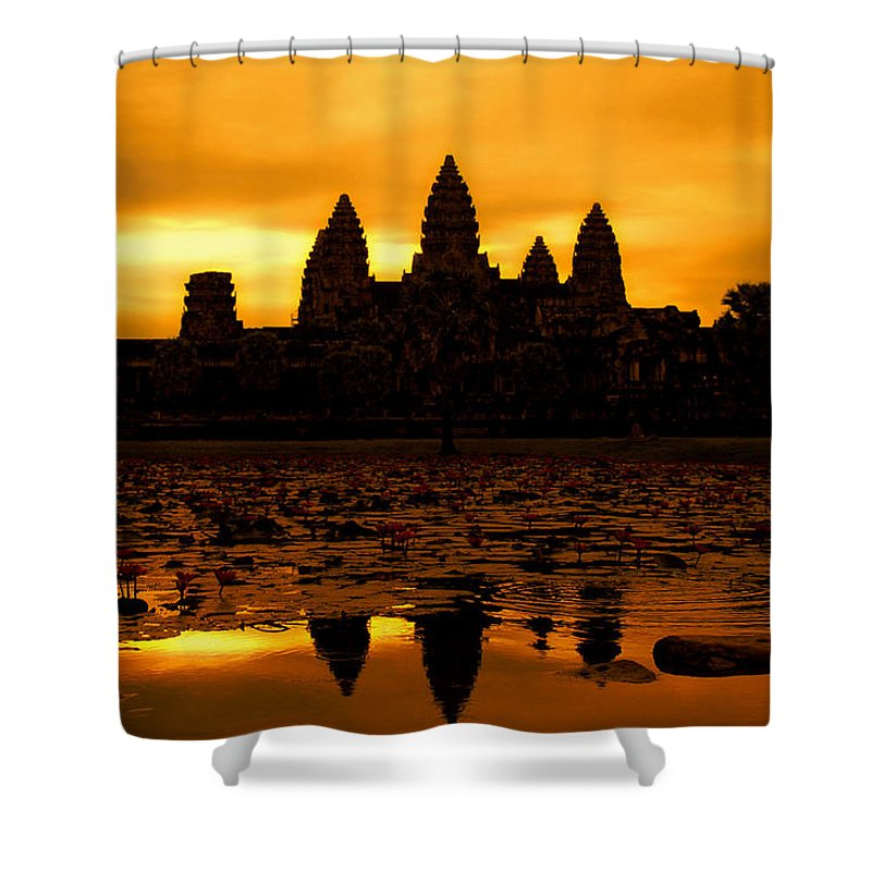 Cambodian Culture Shower Curtain featuring the photograph Angkor Wat At Sunrise by David Lazar