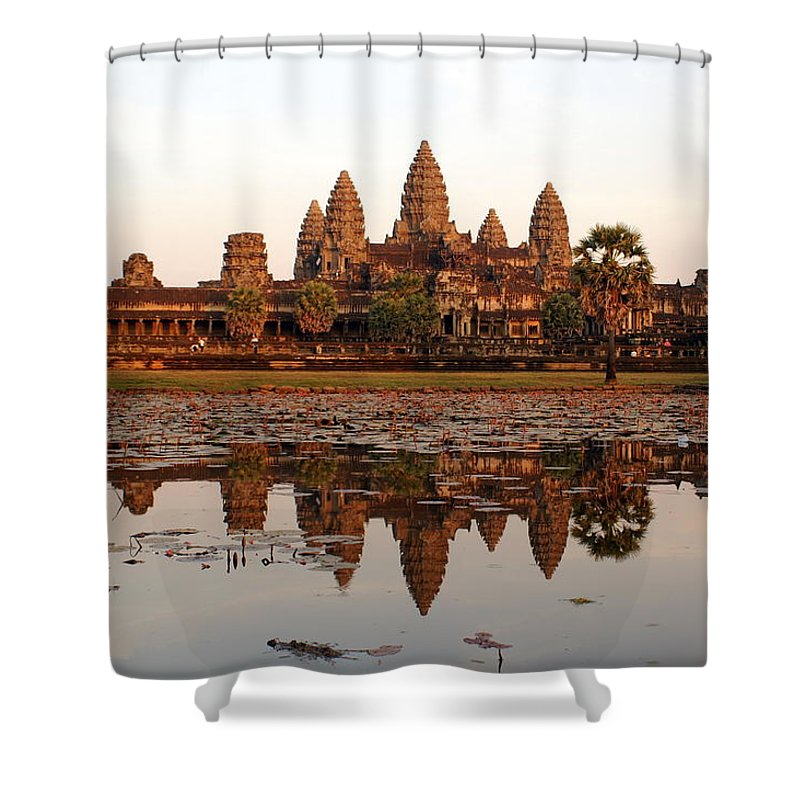 Tranquility Shower Curtain featuring the photograph Angkor Wat - Siem Reap - Cambodia by By Lionel Arnould
