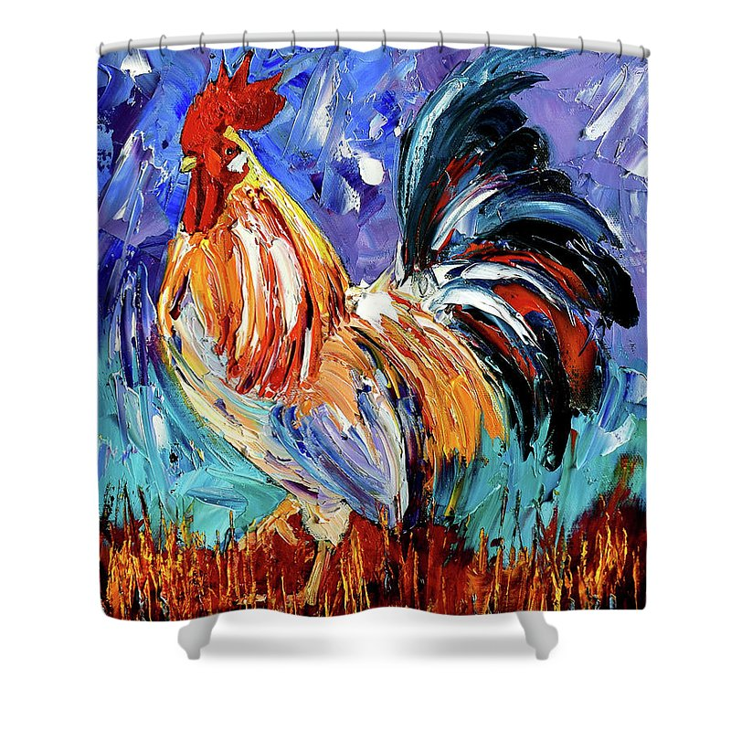Rooster Shower Curtain featuring the painting Another Day by Debra Hurd