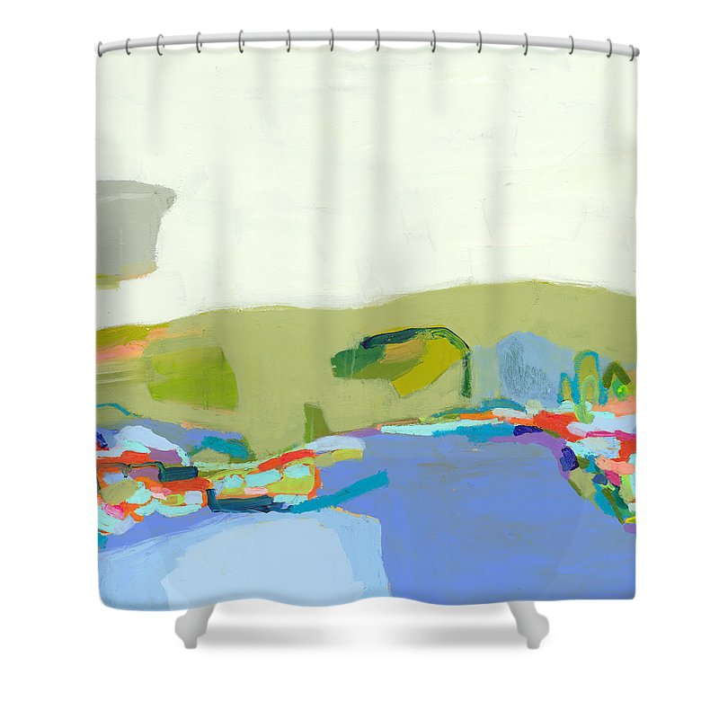 Abstract Shower Curtain featuring the painting Another Place by Claire Desjardins