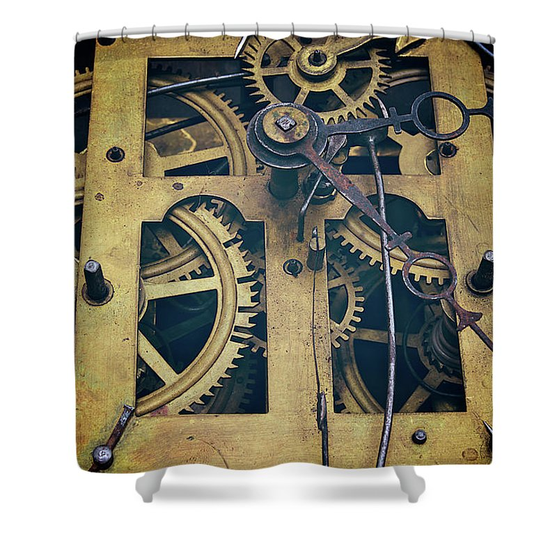 Gear Shower Curtain featuring the photograph Antique Clock Gears, Cog And Parts by Melissa Ross