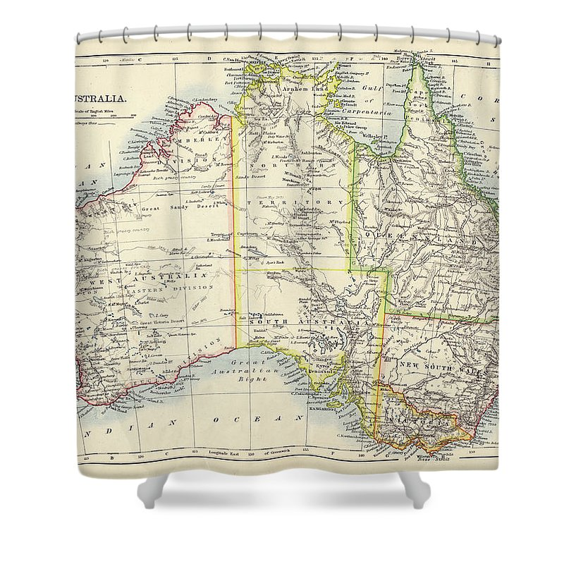 19th Century Style Shower Curtain featuring the photograph Antique Map Of Australia by Nicholas Free