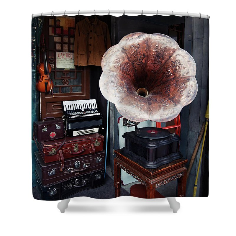 Flea Market Shower Curtain featuring the photograph Antique Victrola In Panjiayuan Flea by Design Pics / Keith Levit