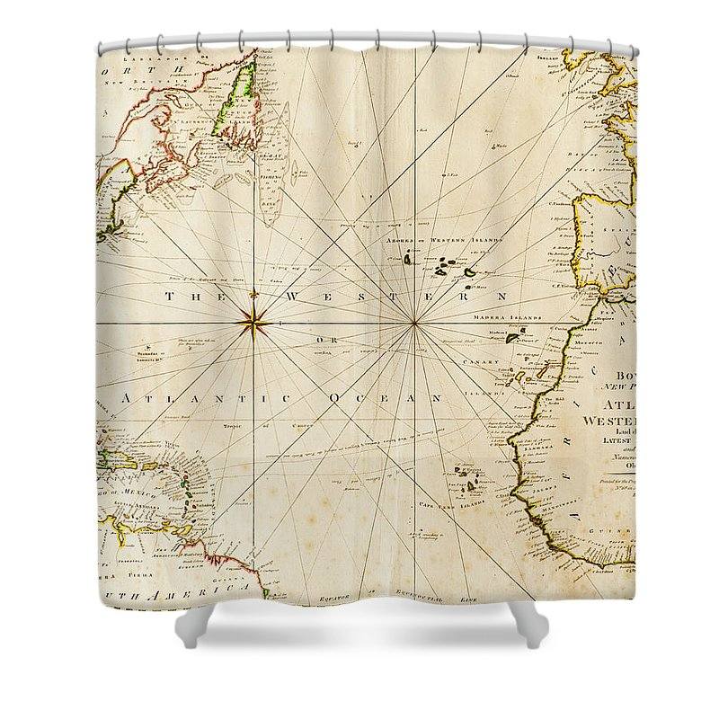 Strategy Shower Curtain featuring the photograph Antique World Map by Tetra Images