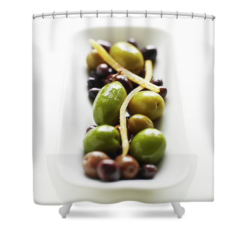 White Background Shower Curtain featuring the photograph Appetizer Of Warm Marinated Olives by Thomas Barwick