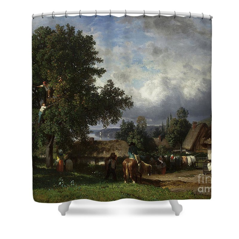 Fruit Shower Curtain featuring the painting Apple Harvest In Normandy by Constant-Emile Troyon
