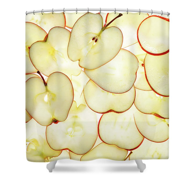 Large Group Of Objects Shower Curtain featuring the photograph Apple Slices by Lauren Burke