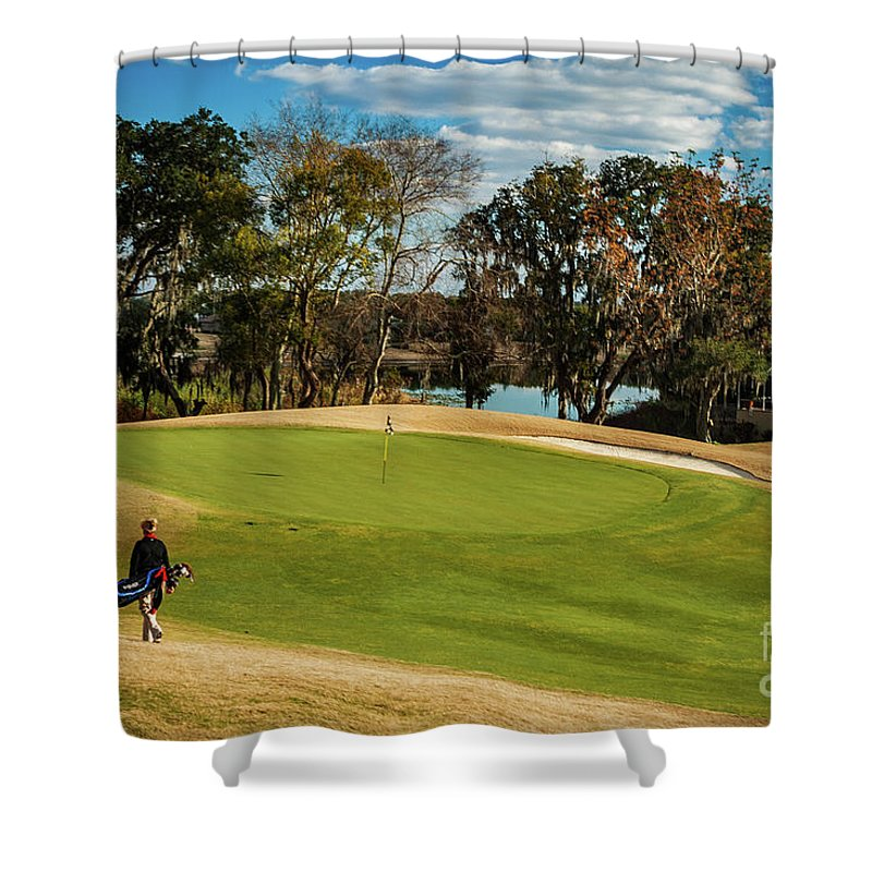 Golf Shower Curtain featuring the photograph Approaching The 18th Green by Thomas Marchessault