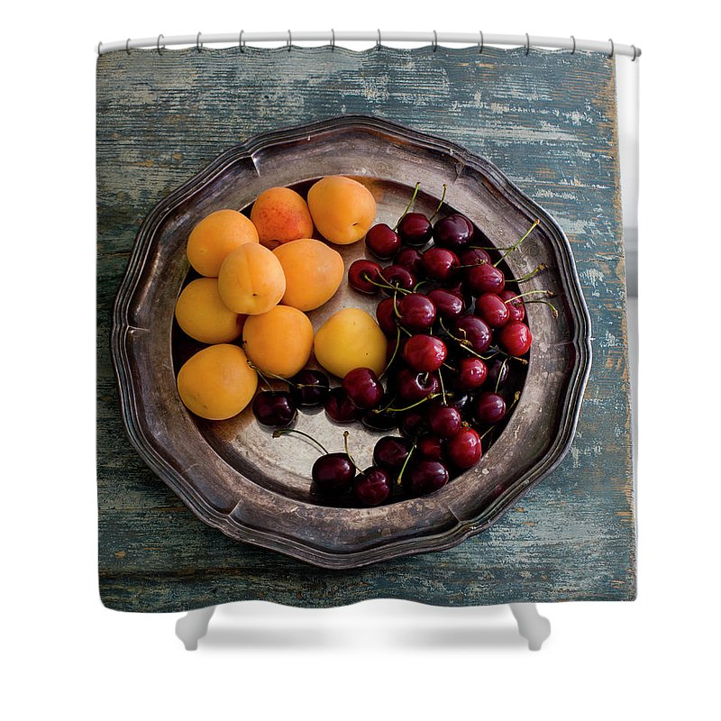 Tranquility Shower Curtain featuring the photograph Apricots And Cherries On Silver Tray by Bjurling, Hans