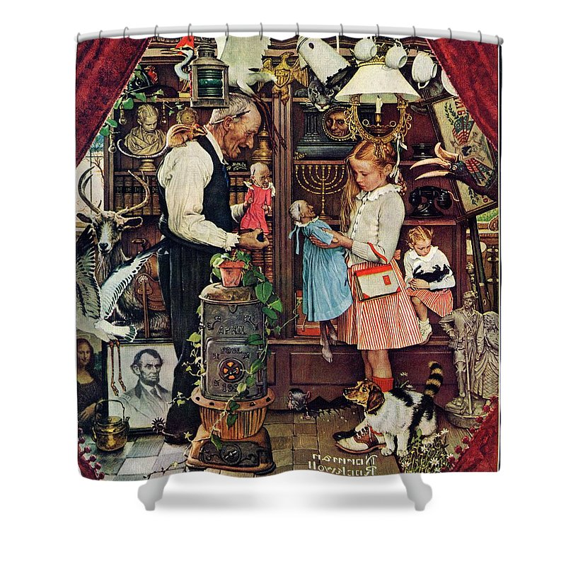 Antiques Shower Curtain featuring the drawing April Fool, 1948 by Norman Rockwell