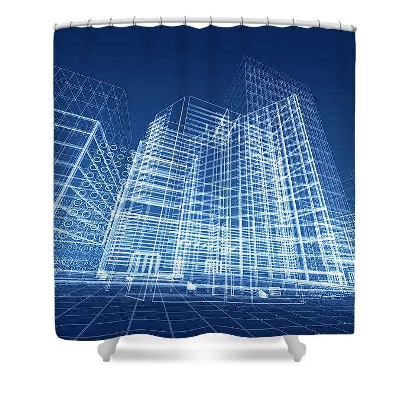 Plan Shower Curtain featuring the photograph Architectural Blueprint Designs For by Dinn