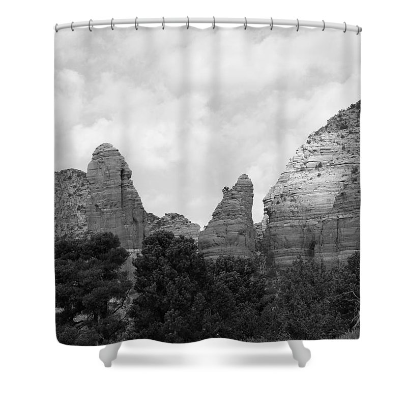 Scenics Shower Curtain featuring the photograph Arizona Mountain Red Rock Monochrome by Sassy1902
