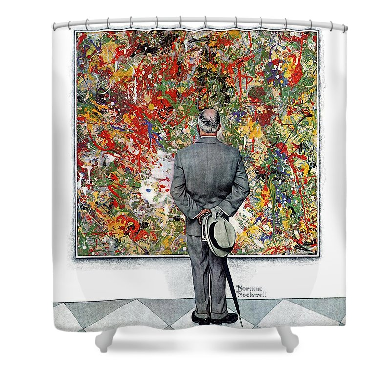 Art Shower Curtain featuring the drawing Art Connoisseur by Norman Rockwell