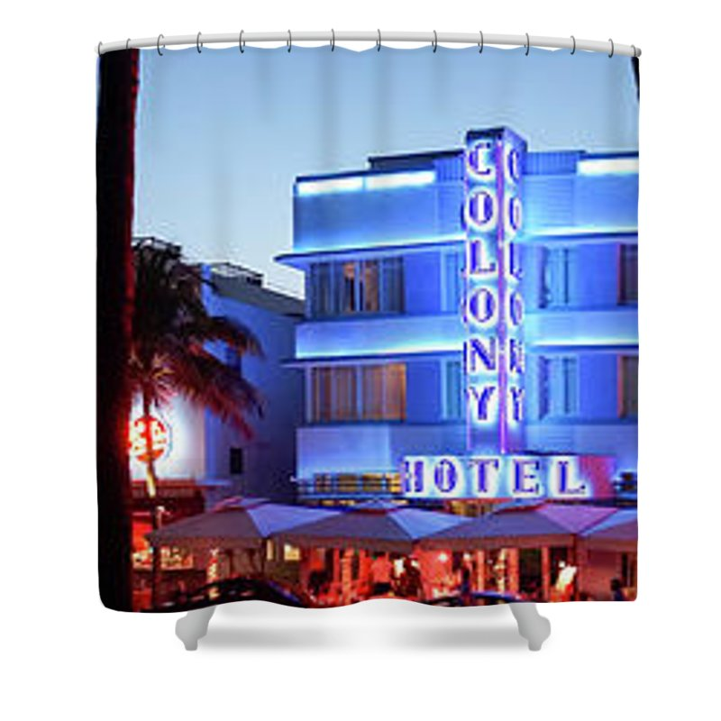 Panoramic Shower Curtain featuring the photograph Art Deco Hotels On Ocean Drive At Dusk by Buena Vista Images