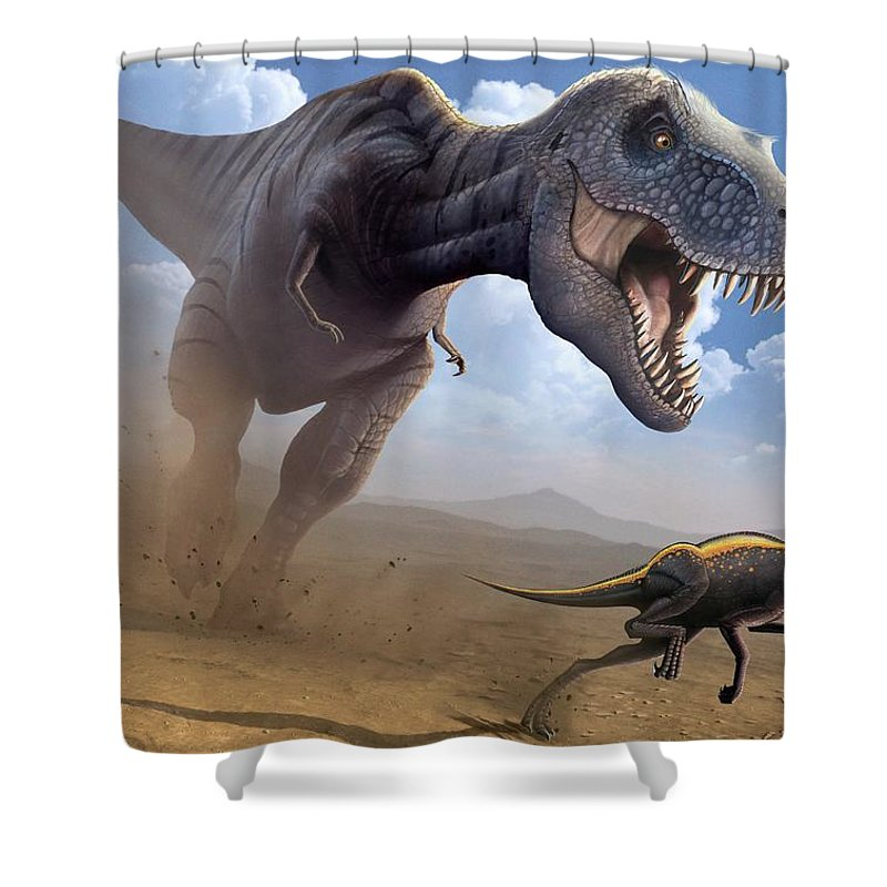 White Background Shower Curtain featuring the digital art Artwork Of A Tyrannosaurus Rex Hunting by Science Photo Library - Mark Garlick