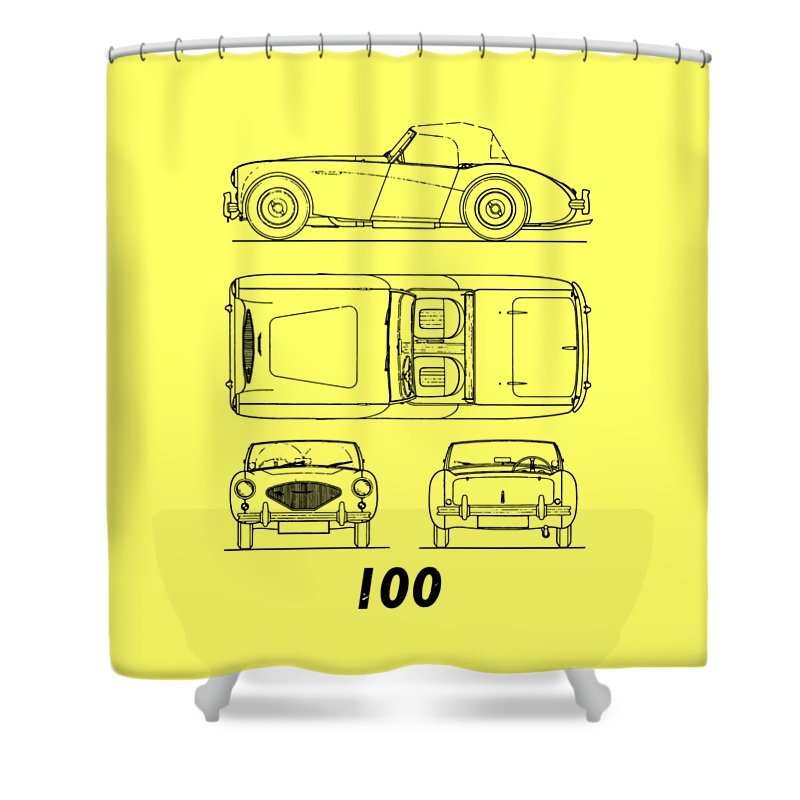 Car Shower Curtain featuring the photograph The Austin-healey 100 by Mark Rogan