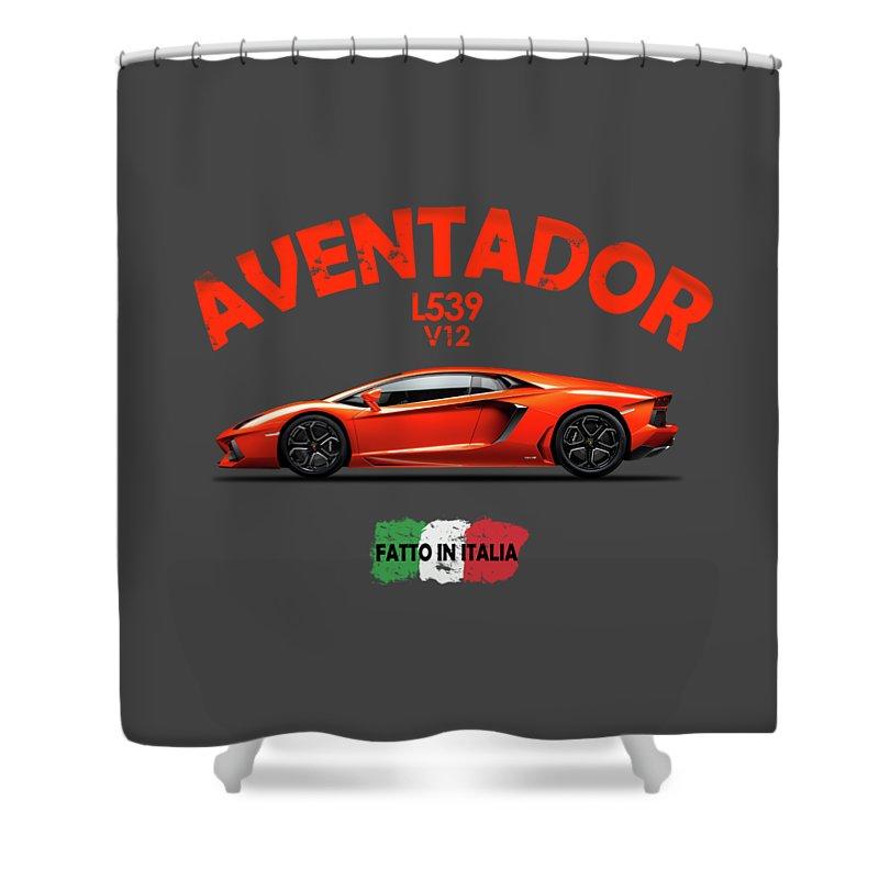 Lamborghini Aventador Shower Curtain featuring the photograph The Lamborghini Aventador by Mark Rogan