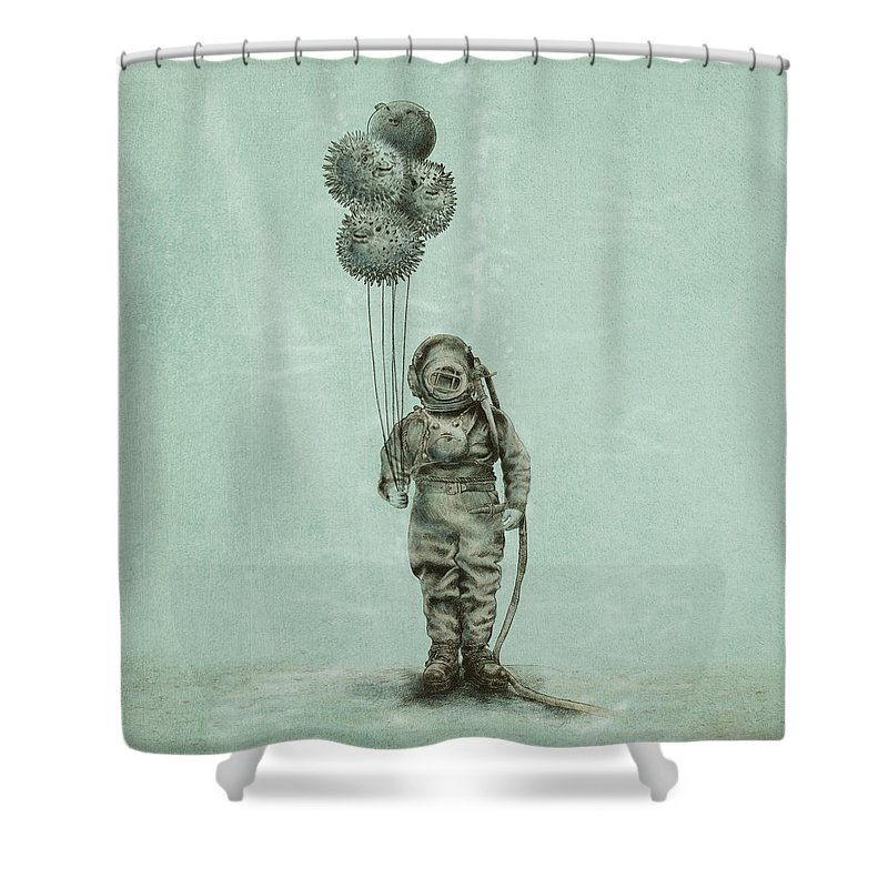 Ocean Shower Curtain featuring the drawing Balloon Fish by Eric Fan
