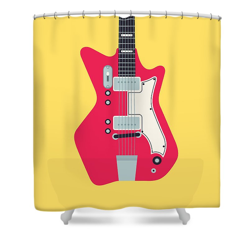 Guitar Shower Curtain featuring the digital art Retro 60s Surf Rock Electric Guitar - Canary by Ivan Krpan