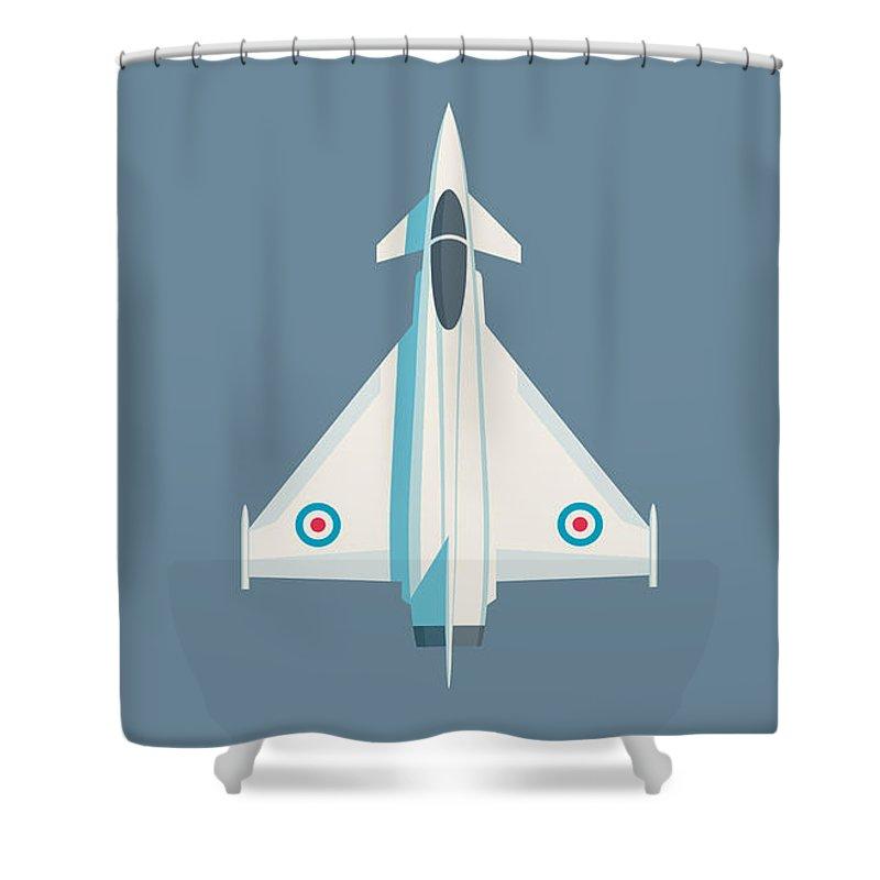 Typhoon Shower Curtain featuring the digital art Typhoon Jet Fighter Aircraft - Slate by Ivan Krpan
