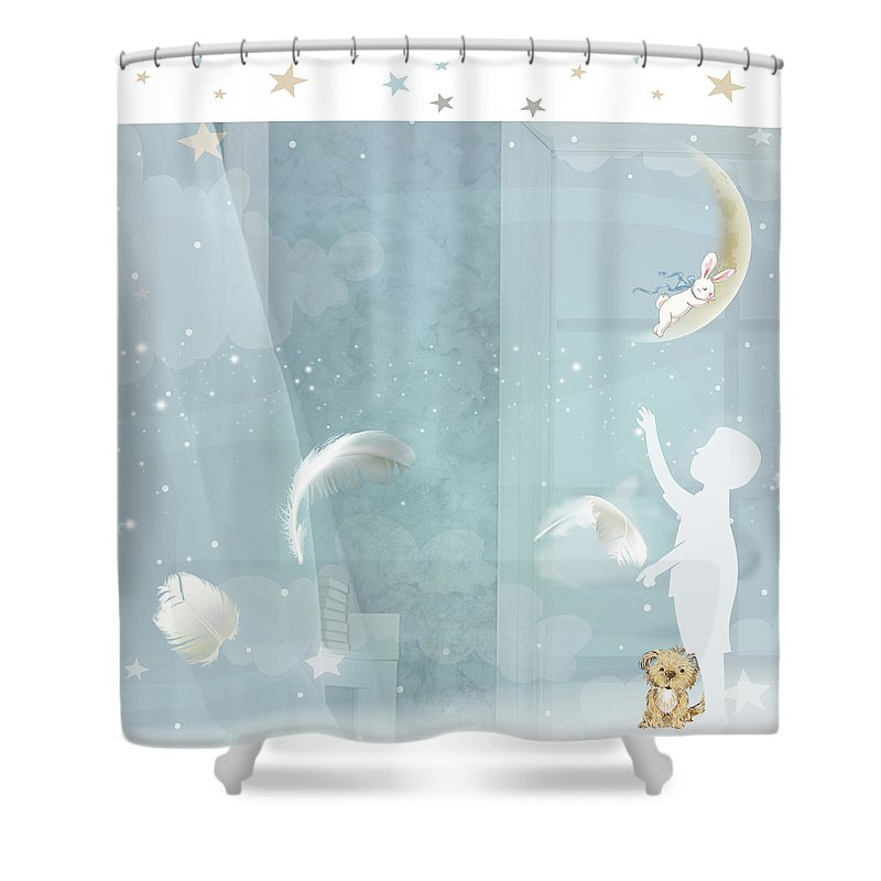 Nursery Shower Curtain featuring the digital art Soul To Keep by Claire Tingen