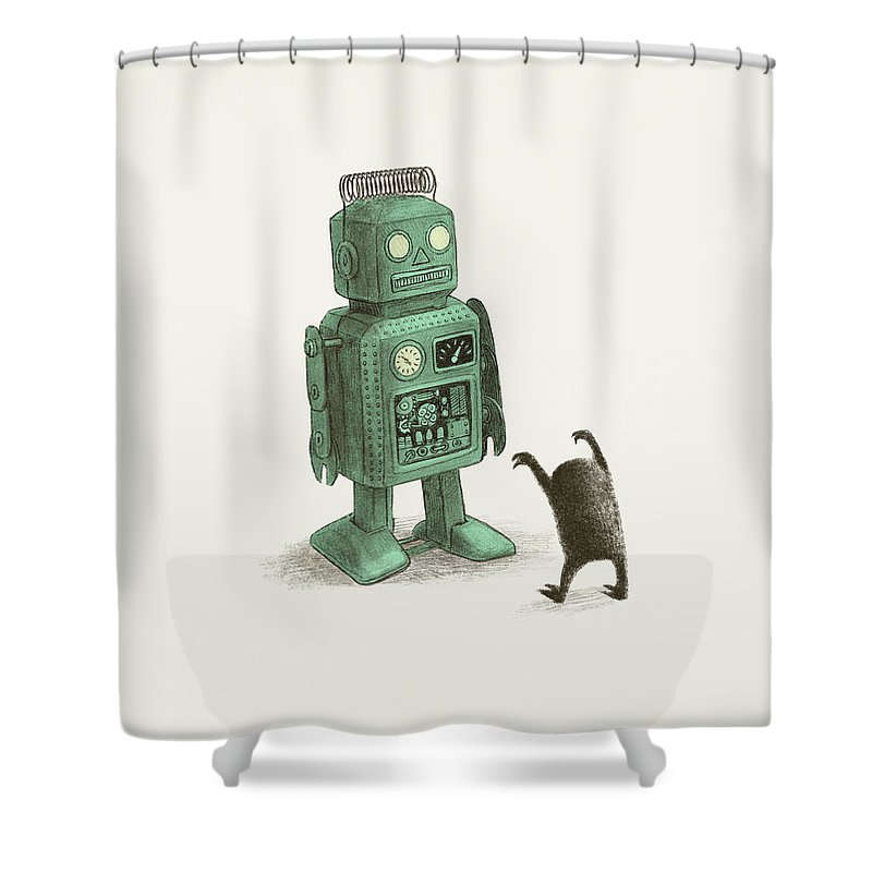 Vintage Shower Curtain featuring the drawing Robot Vs Alien by Eric Fan