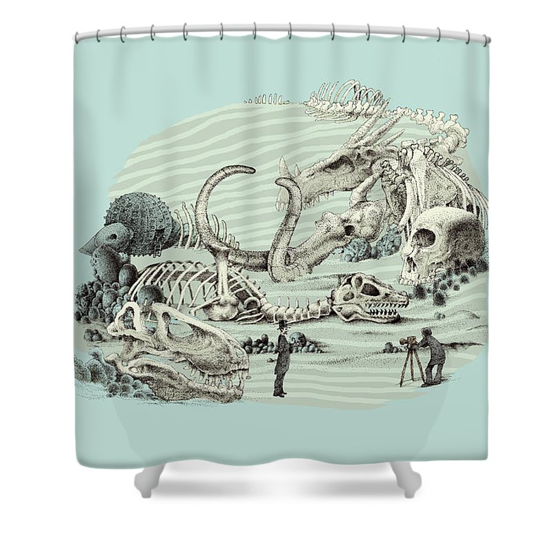 Vintage Shower Curtain featuring the drawing The Lost Beach by Eric Fan