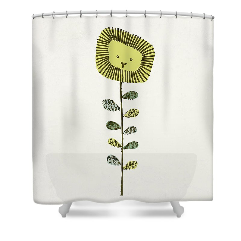 Lion Shower Curtain featuring the drawing Dandy by Eric Fan