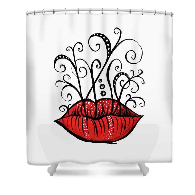 Weird Shower Curtain featuring the drawing Weird Lips Ink Drawing Tattoo Style by Boriana Giormova