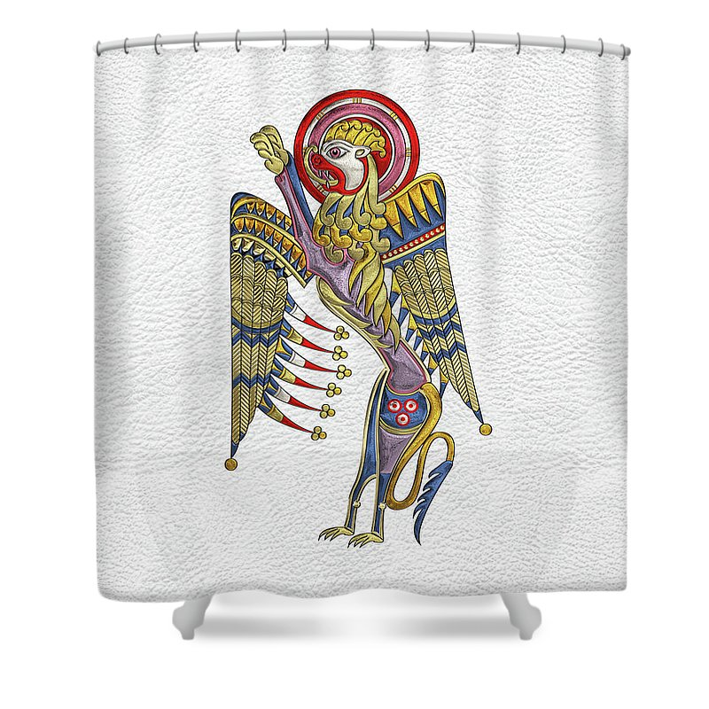 'celtic Treasures' Collection By Serge Averbukh Shower Curtain featuring the digital art Sacred Celtic Lion Over White Leather by Serge Averbukh