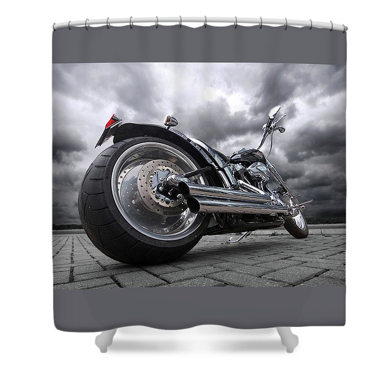 Harley Davidson Motorcycle Shower Curtain featuring the photograph Storming Harley by Gill Billington