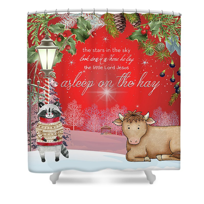 Holiday Shower Curtain featuring the digital art Asleep On The Hay by Claire Tingen
