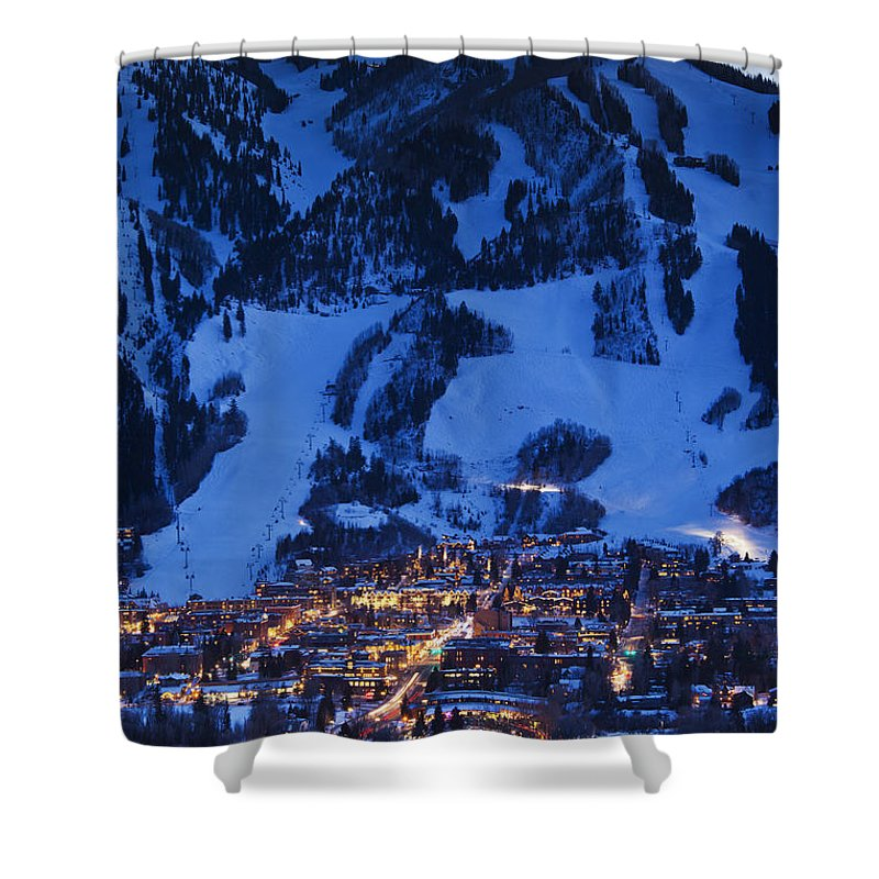 Aspen Shower Curtain featuring the photograph Aspen Mountain, Winter by Walter Bibikow