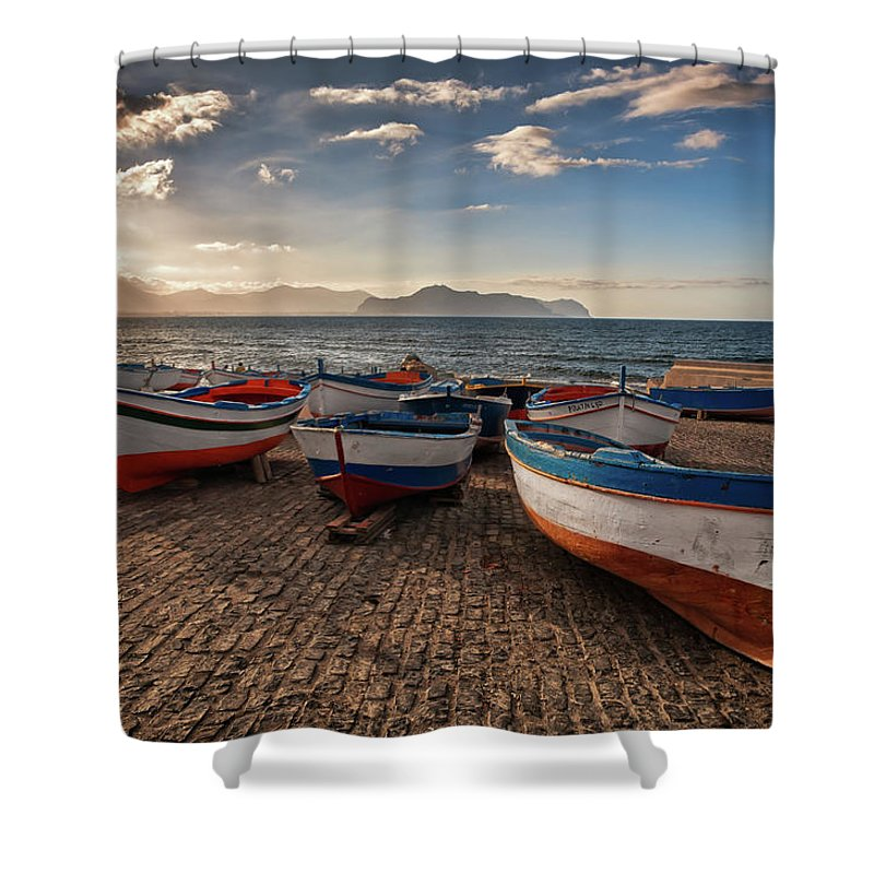 Sicily Shower Curtain featuring the photograph Aspra Boatyard by Fabio Montalto