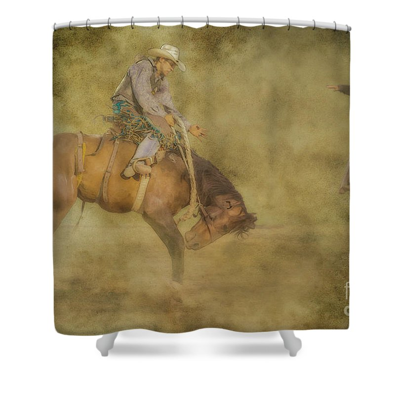 At The Rodeo Bronco Riding Shower Curtain featuring the digital art At The Rodeo Bronco Riding by Randy Steele