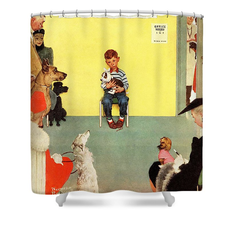 Boy Shower Curtain featuring the drawing At The Vets by Norman Rockwell
