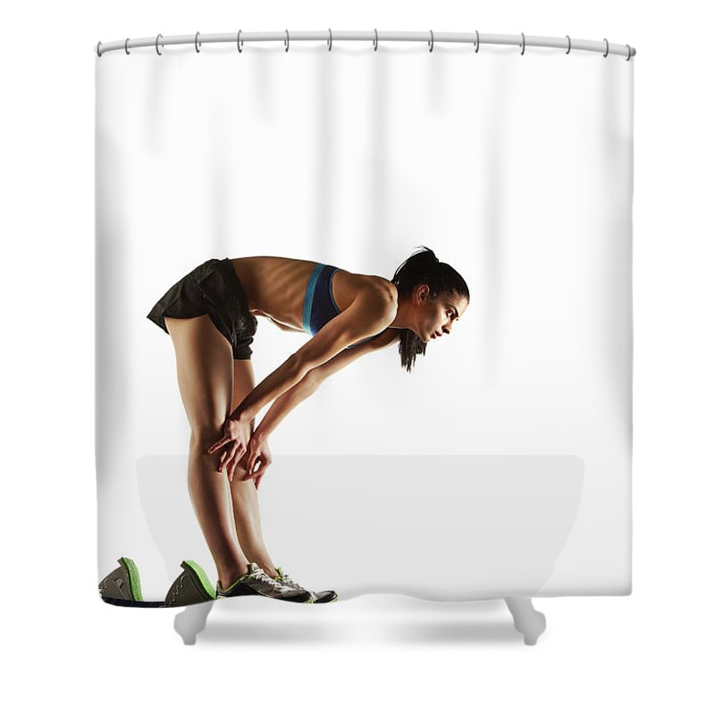 People Shower Curtain featuring the photograph Athlete Resting At Starting Block by Moof