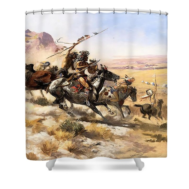 Attack On The Wagon Train Shower Curtain featuring the digital art Attack On The Wagon Train by Charless Russell