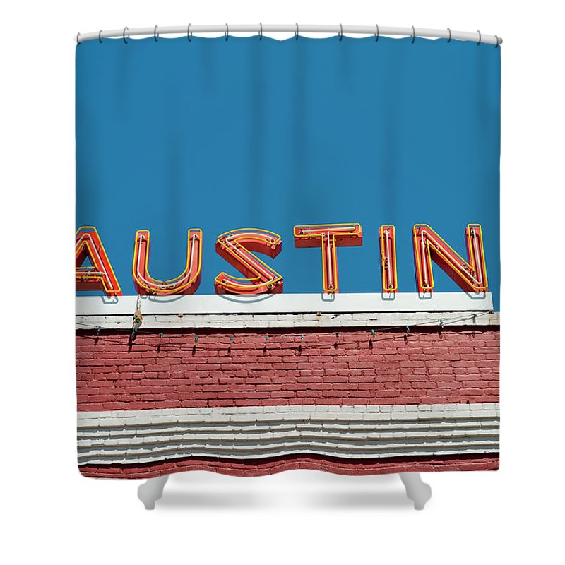 Sunlight Shower Curtain featuring the photograph Austin Neon Sign by Austinartist