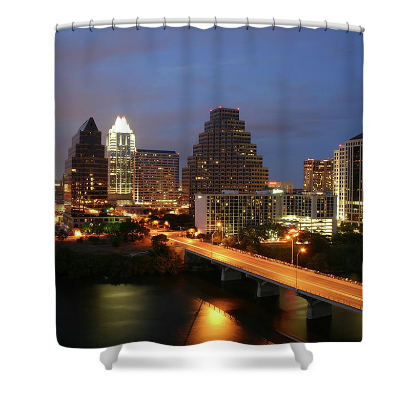 Water's Edge Shower Curtain featuring the photograph Austin Texas Skyline - Unique by Xjben
