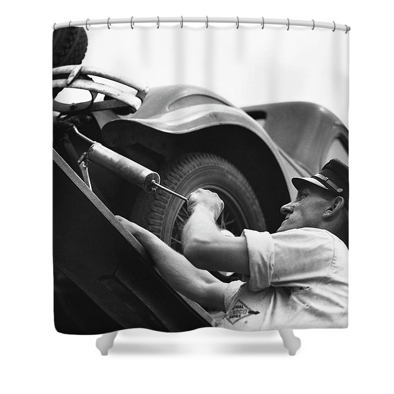Working Shower Curtain featuring the photograph Auto Mechanic Vintage by George Marks