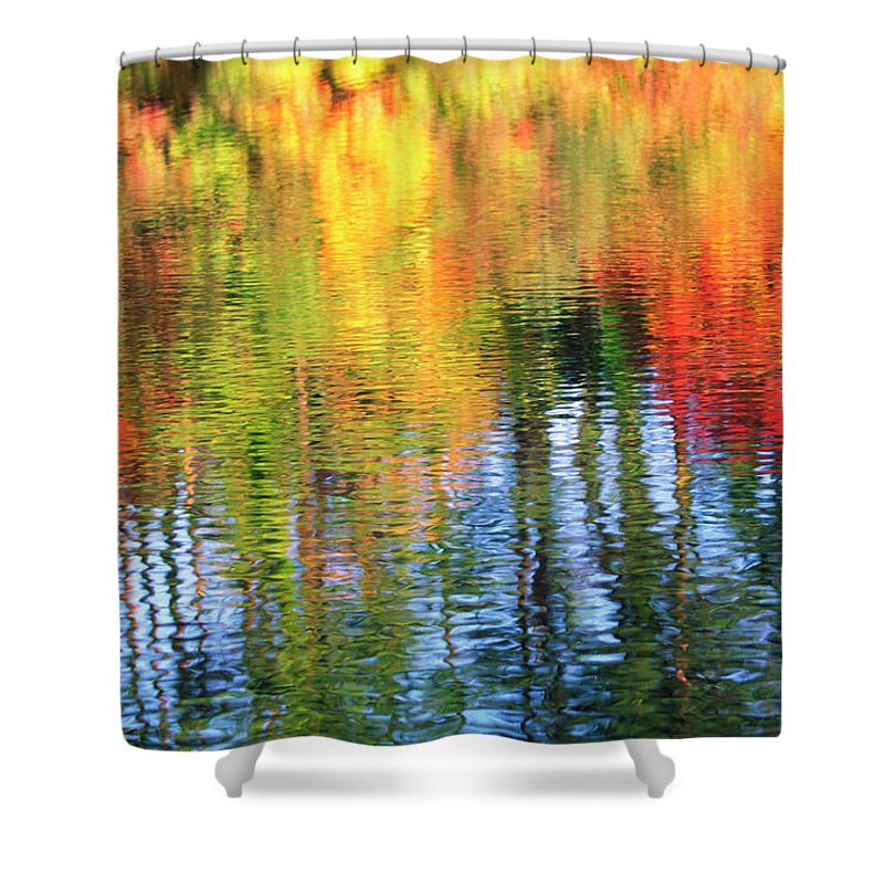 Outdoors Shower Curtain featuring the photograph Autumn Color Reflection by Ooyoo