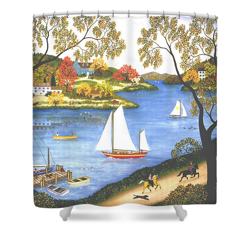 Contemporary Fine Art Landscape Shower Curtain featuring the painting Autumn Holiday by Linda Mears