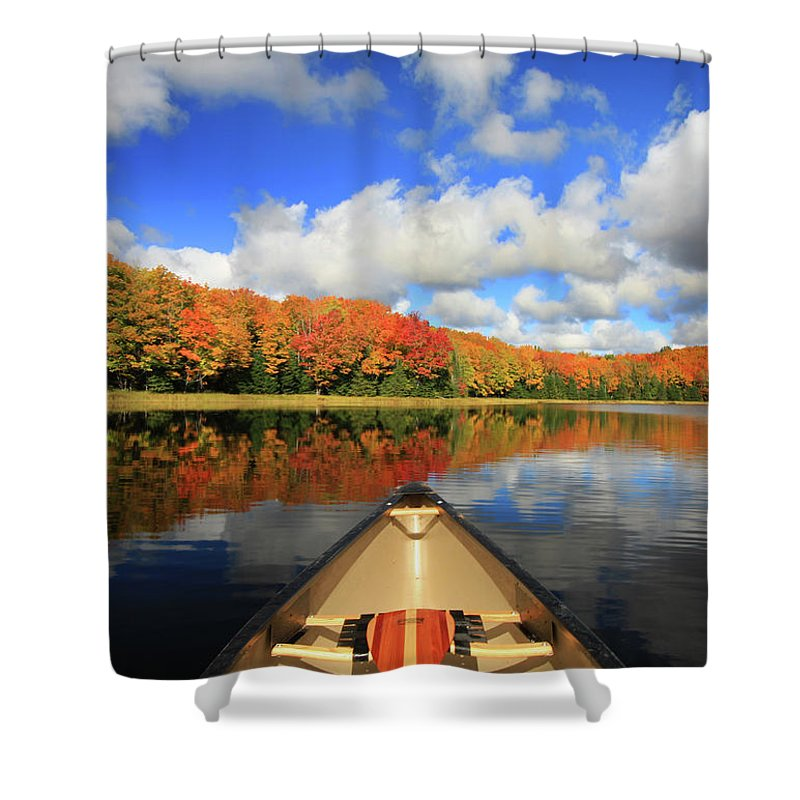Scenics Shower Curtain featuring the photograph Autumn In A Canoe by Photos By Michael Crowley