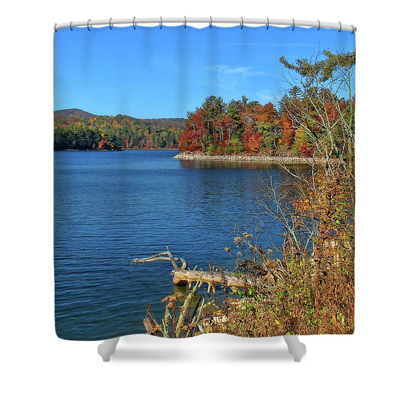 Lake Glenville Shower Curtain featuring the photograph Autumn In North Carolina by HH Photography of Florida