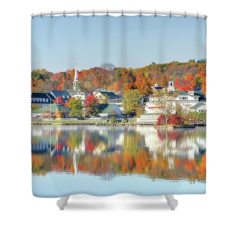 Scenics Shower Curtain featuring the photograph Autumn On Lake Winnipesaukee by Denistangneyjr
