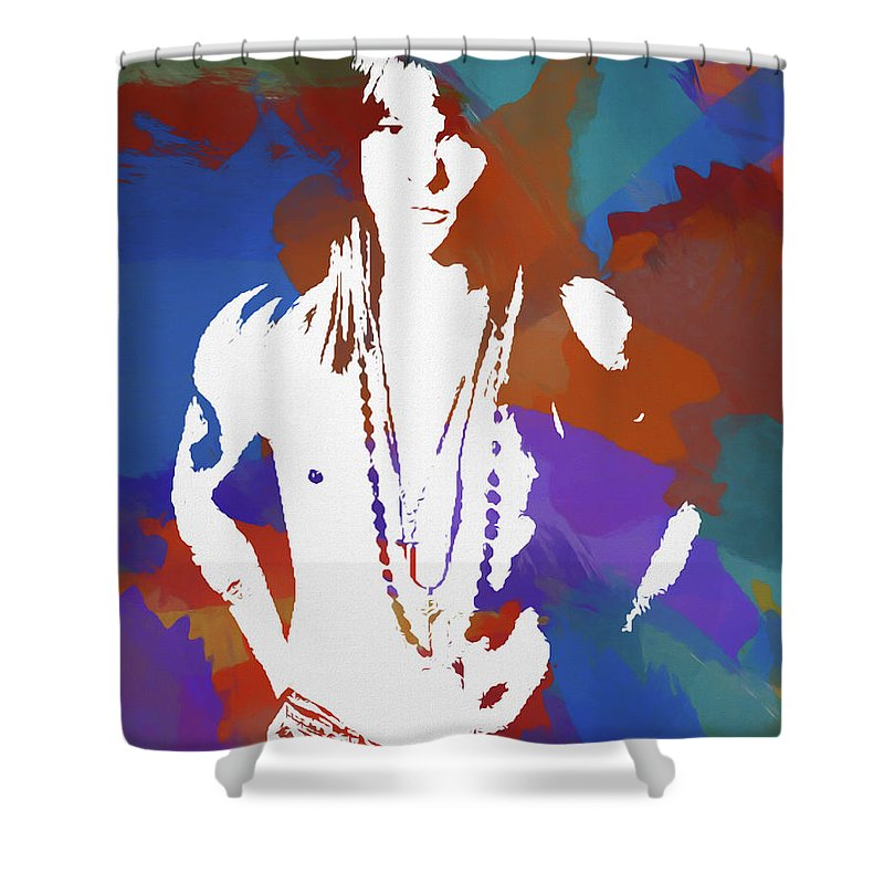 Axl Rose Shower Curtain featuring the painting Axl Rose Color Blast by Dan Sproul