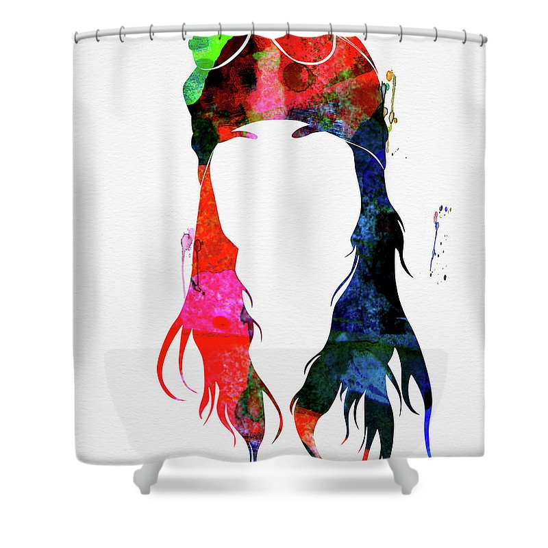 Axl Rose Shower Curtain featuring the mixed media Axl Rose Watercolor by Naxart Studio
